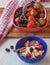 Stock Image : Summer dessert of strawberries with cream cheese