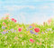 Stock Image : Summer Flowers on Daylight Meadow, Watercolor Hand Painted