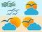 Stock Image : Sun and cloud logo