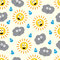 Stock Image : Sun and cloud seamless pattern.