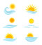 Stock Image : Sun and sea waves icons