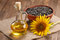 Stock Image : Sunflower oil, seed and sunflower