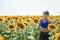 Stock Image : Among sunflowers