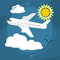 Sunny day. The plane takes passengers to the resort. With seagulls in the sky. Vector