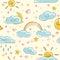 Stock Image : Sunny seamless pattern