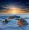 Stock Image : Sunset on sea