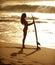 Stock Image : Sunset surfer girl 1
