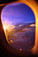 Stock Image : Sunset view from airplane window