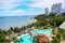 Stock Image : Swimming pools and bar at the beach of luxury hotel, Pattaya,