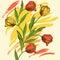 Stock Image :  Tło z tulipanami i barwioną kiści farbą