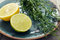 Stock Image : Tarragon with lemon and lime