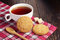 Stock Image : Tea cup with oatmeal cookie