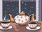 Stock Image : Tea party at winter night