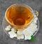 Stock Image : Tea with white flowers of jasmine