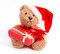 Stock Image : Teddy bear with Christmas gift