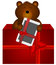 Stock Image : Teddy Bear with tablet in the gift box