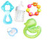 Stock Image : Teethers, soother and bottle for babies