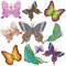 Stock Image : Ten bright motley butterflies