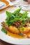 Stock Image : Thai food, Egg pudding  with basil sauce.