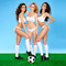 Stock Image : Three beautiful sexy women soccer players