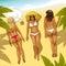 Stock Image : Three Girls on the Beach