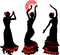 Stock Image : Three silhouettes of flamenco dancer with fan