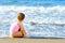 Stock Image : Toddler girl at beach