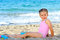 Stock Image : Toddler girl at beach