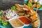 Stock Image : Tofu, Sausage, Pork dumpling fried and salad (Thai food)