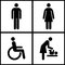 Toilet Sign - Restroom, Mother room and Disabled sign