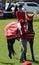 Stock Image :  Toon het springen paard en ruiter - winnaars