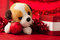 Stock Image : Toy dog with christmas ornaments