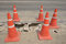 Stock Image : Traffic cone  used on concrete pavement .