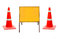 Stock Image : traffic cones with sign banner