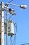 Stock Image : Transformer and street light
