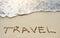 Stock Image : Travel on sandy beach near sea