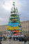 Stock Image : Tree construction from flags with slogans on Euro