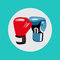 Two boxing gloves vector flat design