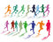 Stock Image : Two colorful groups of runners
