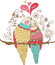 Stock Image : Two cute birds in love, colorful illustration