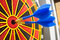 Stock Image : Two darts in bullseye of dartboard