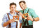 Stock Image : Two men in bavaria with pretzel