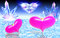 Stock Image : Two pink hearts on water