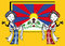 Stock Image : Two tibetan girls with tibetan flag,Vectorial