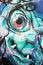 Stock Image : Ugly face graffiti wall art
