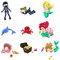 Stock Image : Underwater cartoon characters and objects collection icon set (v