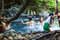 Stock Image : Unidentified people playing around hot spring