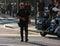 Stock Image : US policeman patrols city street