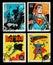 Stock Image : USA Batman and Superman Superheroes Postage Stamps