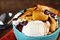 Stock Image : Vanilla Ice Cream with Apple Cranberry Sauce